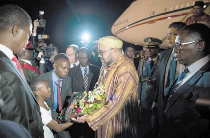 L'arrivée du Souverain à Lusaka.               Ph.MAP