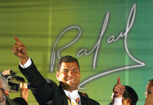 Elections présidentielles équatoriennes : Rafael Correa fête sa victoire