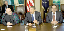 Le président américain BaraRencontre entre Barack Obama, Hamid Karzaï et Asif Ali Zardari : Front commun contre Al Qaïda