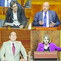 Fatiha Seddas, Amina Talbi,  Mohamed Alami et Mohammed El Mellahi plaidant la cause socialiste au grand oral mensuel du Chef du gouvernement