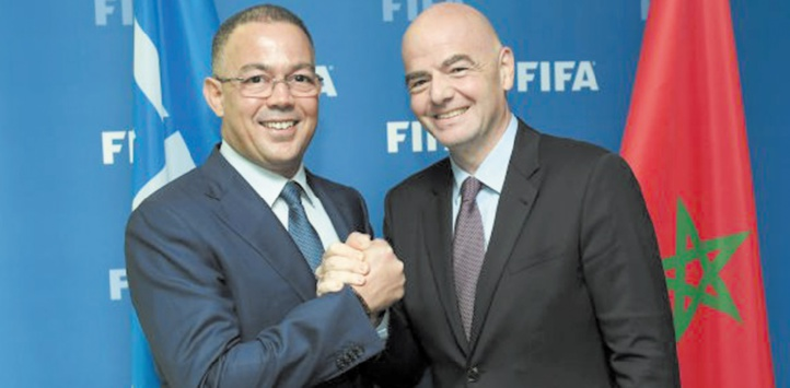 Fouzi Lekjaa en compagnie du président de la FIFA, Gianni Infantino.