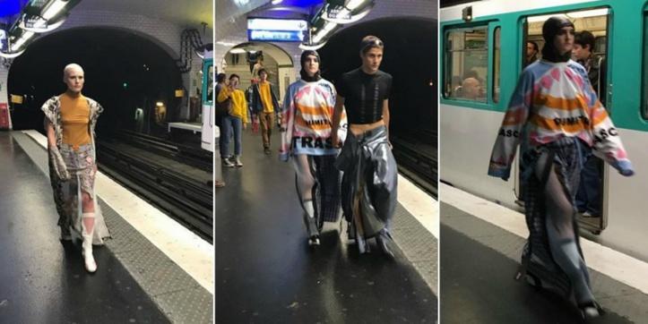 Un défilé de mode dans le métro