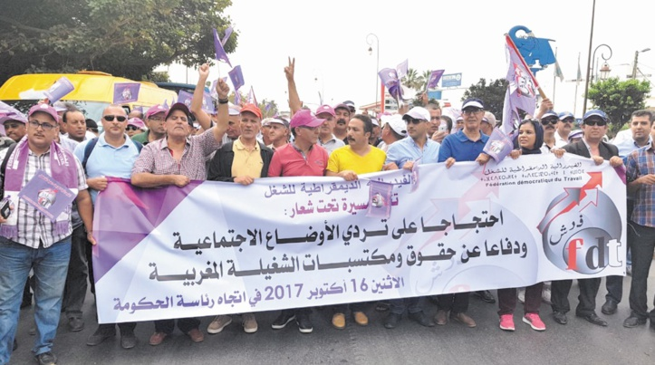 Marche de protestation de la FDT à Rabat