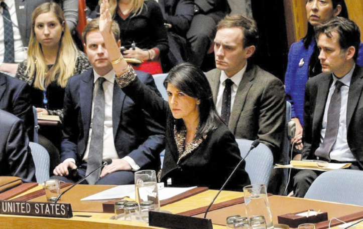 Veto US à l'ONU pour contrer la résolution appelant Trump à changer d'avis