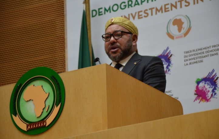 S.M. le Roi prononçant un discours à l'occasion  de la clôture du 28ème Sommet des chefs d'Etat et  de gouvernement de l'Union Africaine à Addis-Abeba. ph Archives