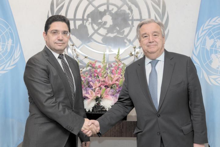 Antonio Guterres et Nasser Bourita au siège de l'ONU le 4 avril 2018.