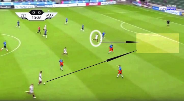 Sur l'action du premier but, en faisant un appel dans le dos des défenseurs, Ayoub El Kaabi a permis au jeu de son équipe de progresser même en situation d'infériorité numérique.