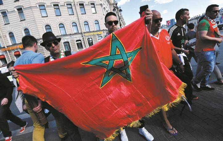 Les supporteurs marocains sur la Place Rouge pour soutenir les Lions de l'Atlas