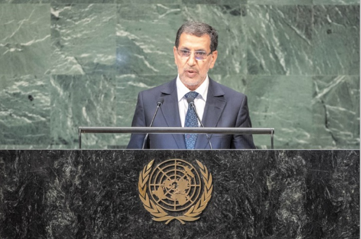 L'intervention de Saad Dine El Otmani devant l'ONU.           Ph: Nations unies.
