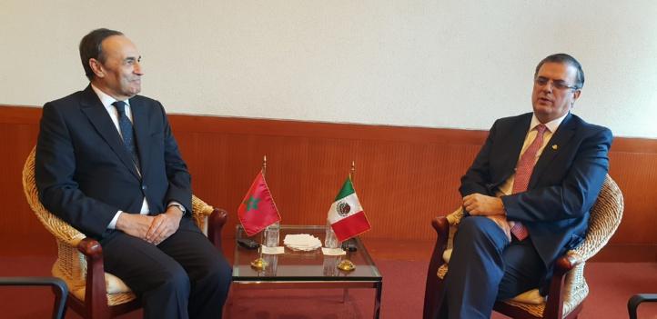 Habib El Malki et Marcelo Ebrard, ministre mexicain des Affaires étrangères.
