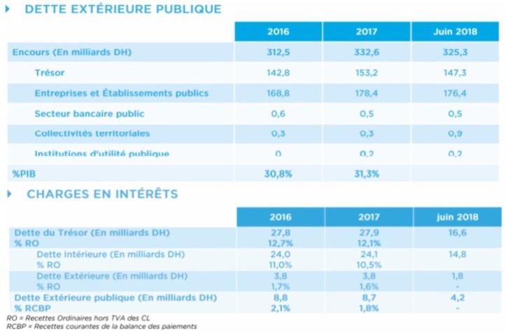 Source : Rapport sur la dette publique  (Loi de Finances 2019)