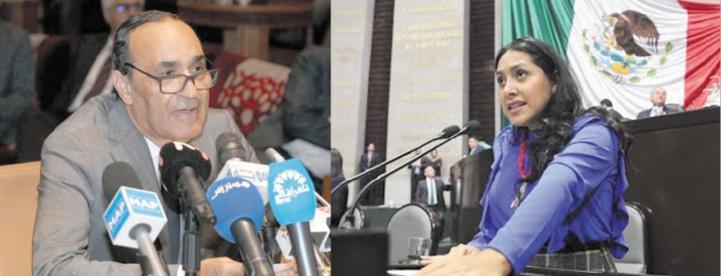 Habib El Malki, président de la Chambre des représentants.           Maria del Carmen Bautista Peláez, présidente du groupe d'amitié Mexique-Maroc à la Chambre mexicaine des députés.