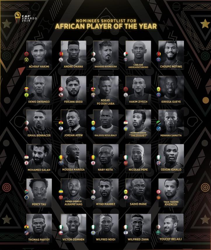 Hakimi et Ziyech nominés aux CAF Awards