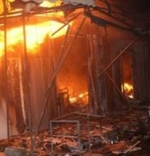 Incendie du souk de Chtaiba à Settat,