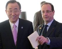 En marge du Forum de Strasbourg : Ban Ki-moon rencontre Hollande pour parler de la Syrie et du Mali