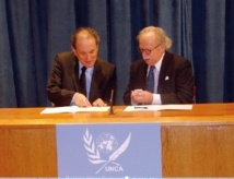 La cérémonie de signature a eu lieu au siège de l'ONU : Partenariat entre RAM et l'Association des correspondants des Nations Unies