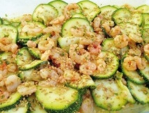 Recette : Courgettes et crevettes  marinées au curry