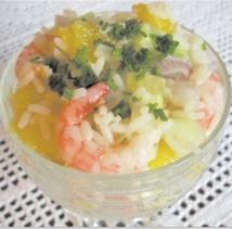 Recette : Salade de riz à l'orange  et aux crevettes