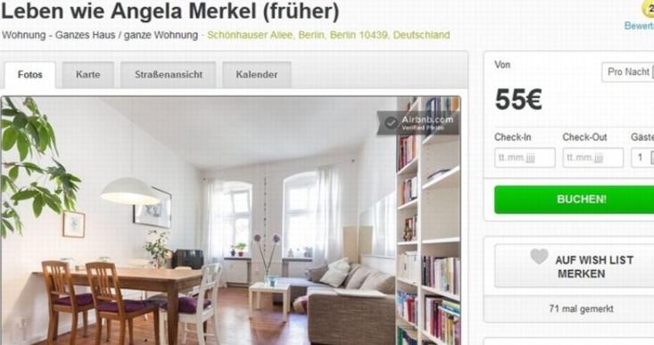 L'ancien deux pièces de Merkel à louer pour 55 euros par jour
