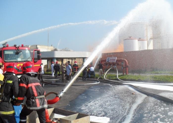 Simulation d'un incendie au port de Mohammedia