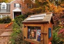 Au bout des jardins de Washington, des petits abris à livres
