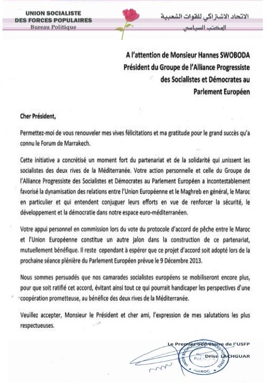 Lettre de Driss Lachguar à Hannes Swoboda