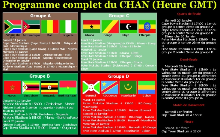 Programme complet du CHAN (Heure GMT)