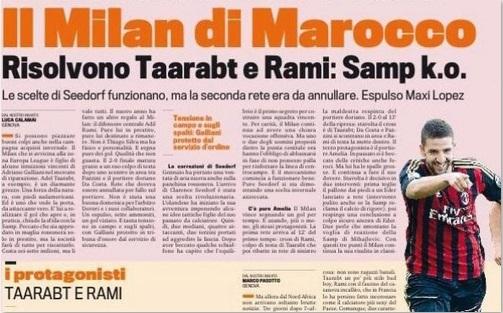 Taarabt encensé par la presse italienne