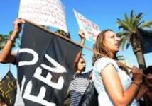 Manifestation pour réclamer la libération des membres  du Mouvement du 20 février