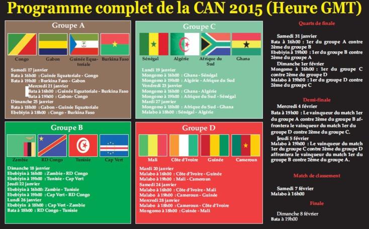 Programme complet de la CAN 2015 (Heure GMT)