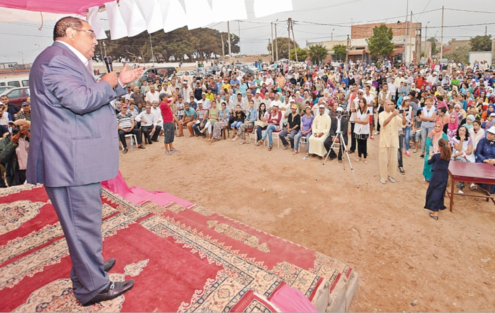 Driss Lachguar présidant le meeting de l'USFP à Sidi Taybi