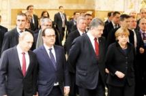 """Hollande, Merkel, Porochenko et Poutine saluent un cessez-le-feu """"globalement respecté"""" en Ukraine"""