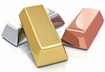 Baisse des cours de l'argent, du cuivre et de l'or