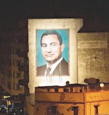 Un portrait géant de Hosni Mobarak à Casablanca Cinq ans après le début de la révolution égyptienne