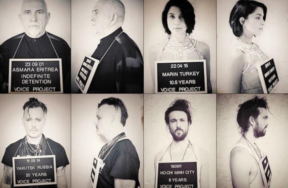 Des célébrités posent pour la libération d'artistes incarcérés dans le monde