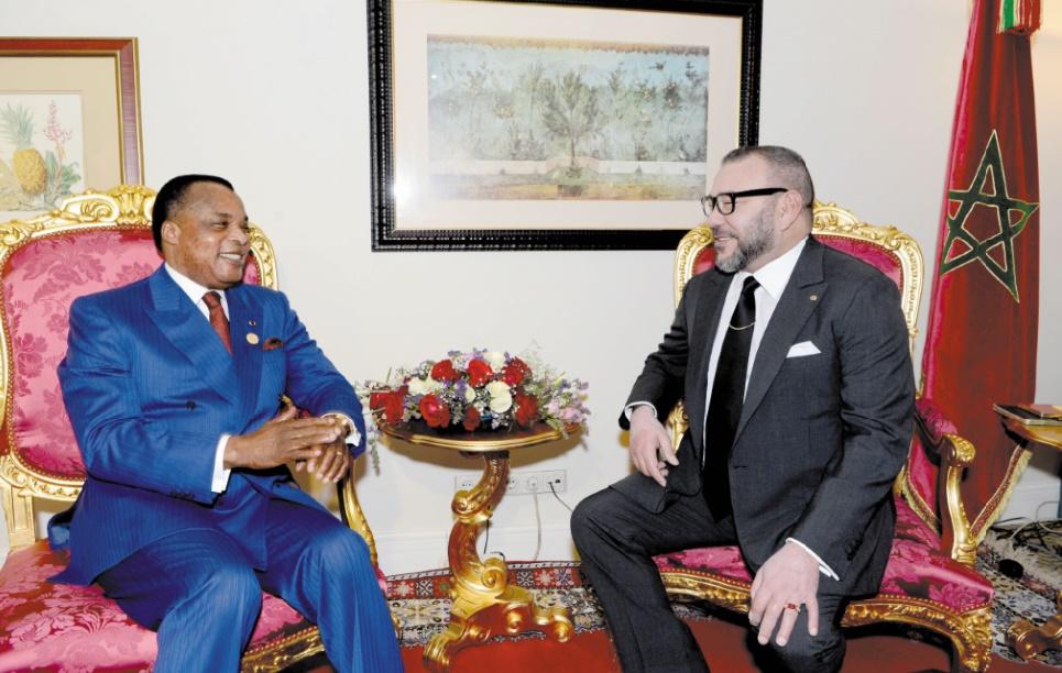 Entretien en tête à tête entre S.M le Roi Mohammed VI et le Président Denis Sassou Nguesso.                 Ph. MAP