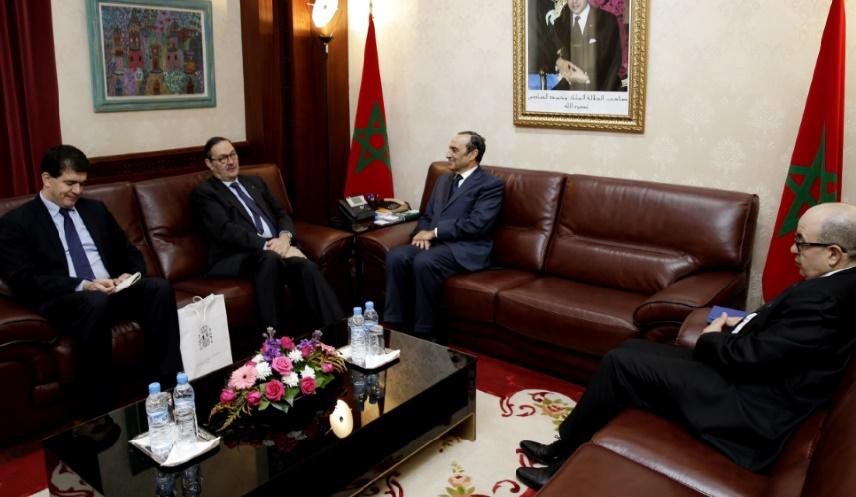 Une vue de l'entretien entre Habib El Malki et Ricardo Diez-Hochleitner Rodriguez.