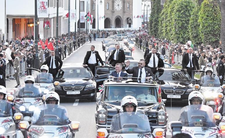 Rencontre entre S.M le Roi et le Souverain jordanien : Un dîner officiel offert en l'honneur de S.M le Roi Abdallah II Ibn Al Hussein