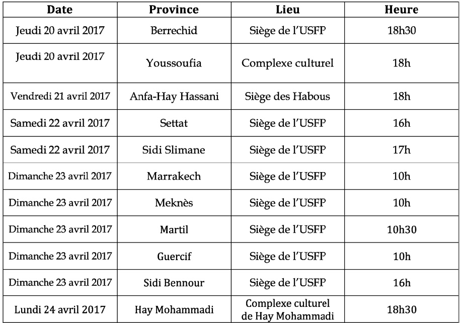 USFP : Rencontres locales pour débattre des projets de résolutions