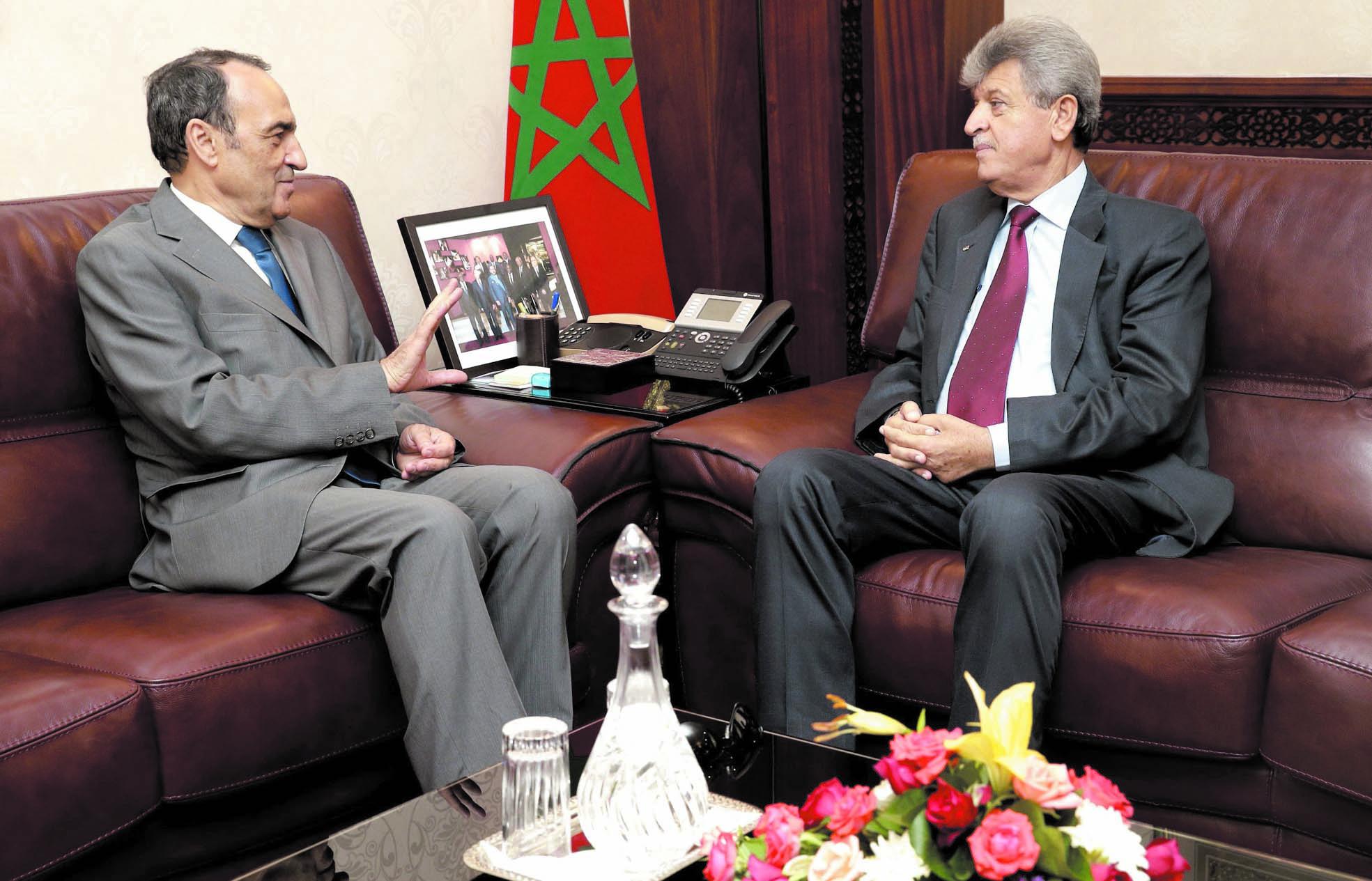 Recevant l'ambassadeur de la Palestine à Rabat Habib El Malki: La question palestinienne est une cause centrale pour toutes les composantes du peuple marocain