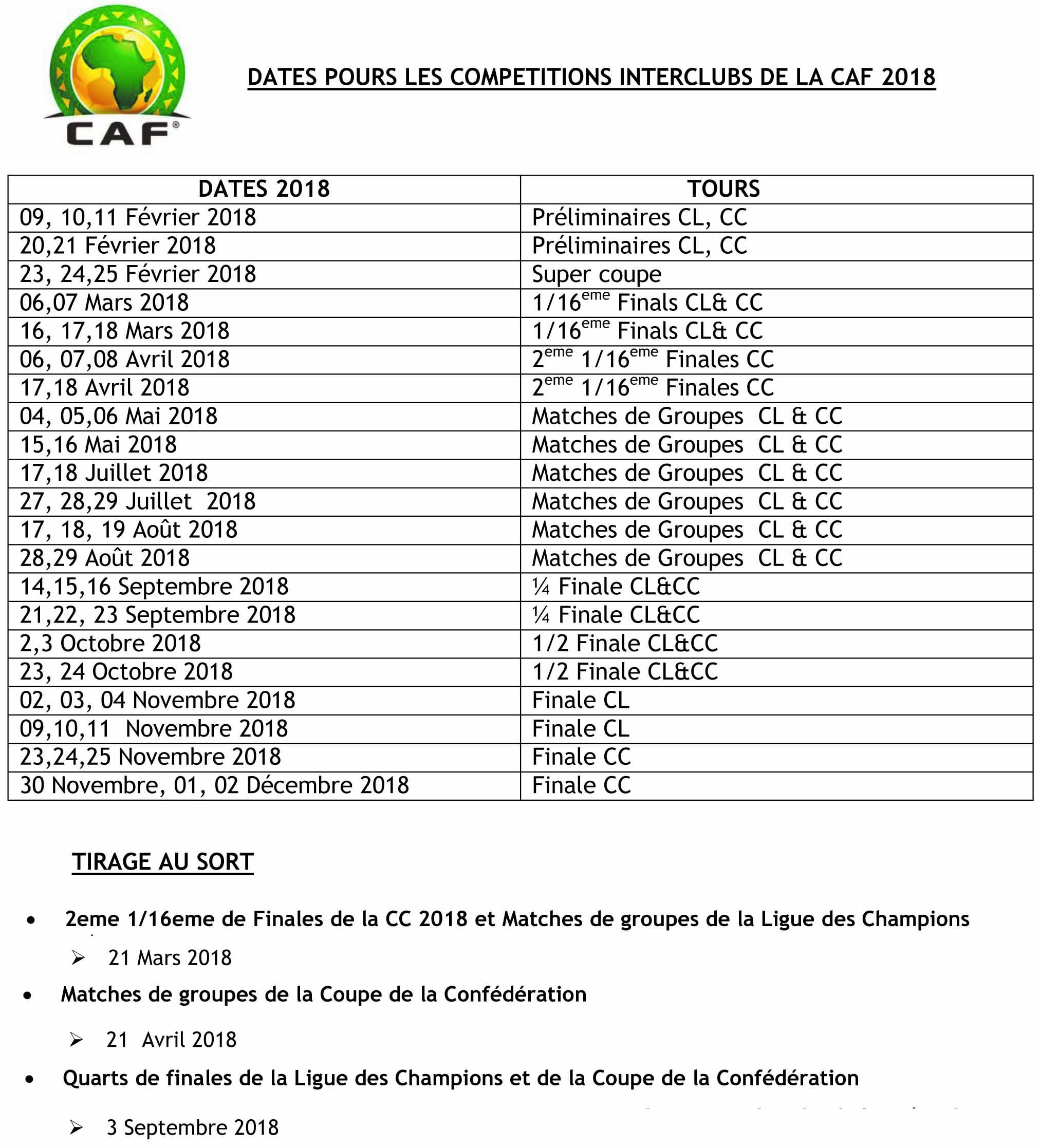La CAF revoit le calendrier des concours interclubs