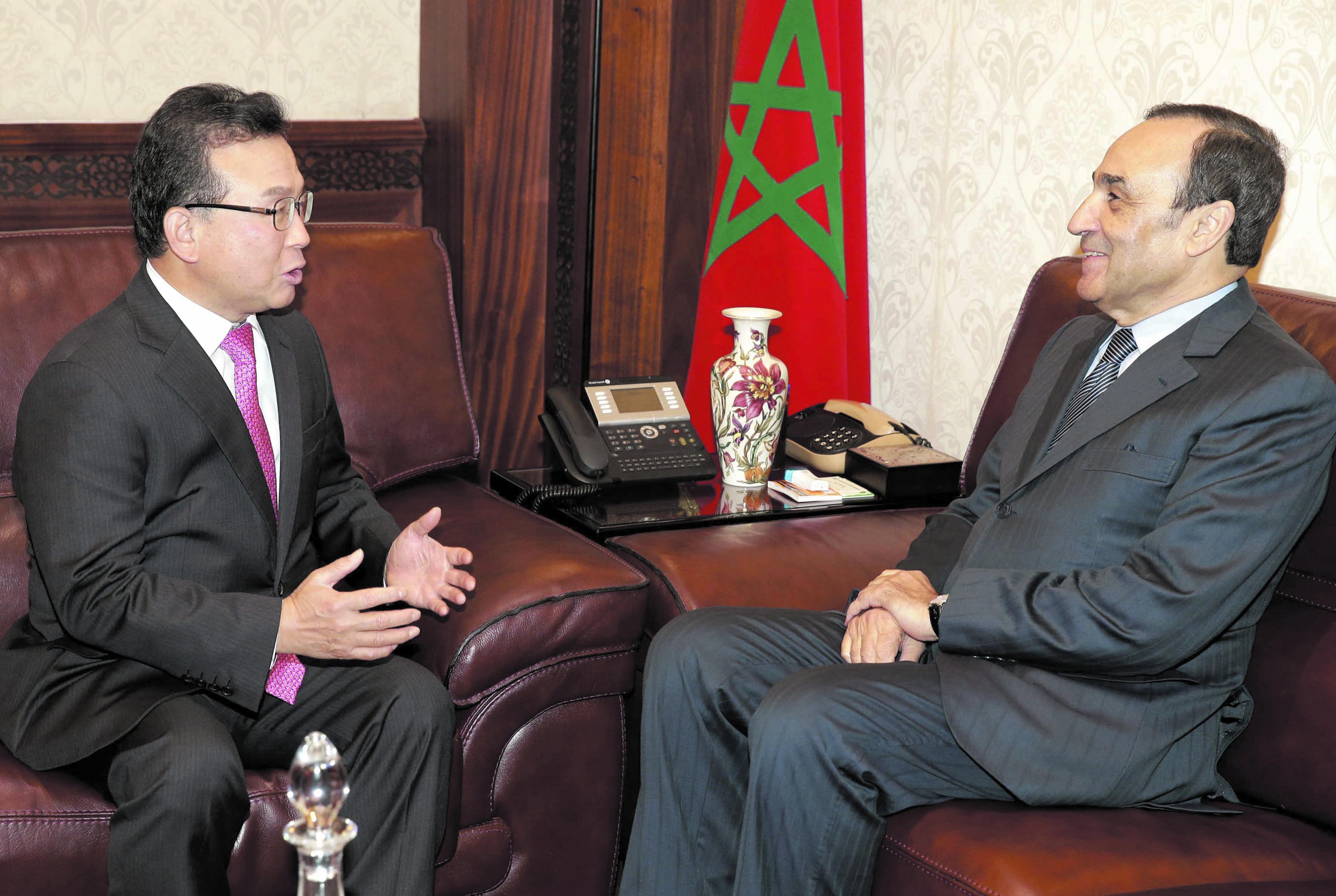 Le président de la Chambre des représentants reçoit l'ambassadeur sud-coréen à Rabat