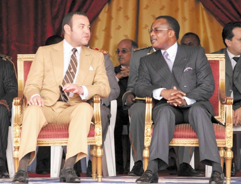 S.M le Roi  et le président Sassou Nguesso à Brazaville le 23 février 2006.