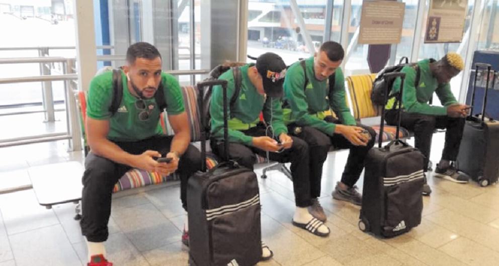 L'équipe nationale lors de  son arrivée à l'aéroport de Tallinn.