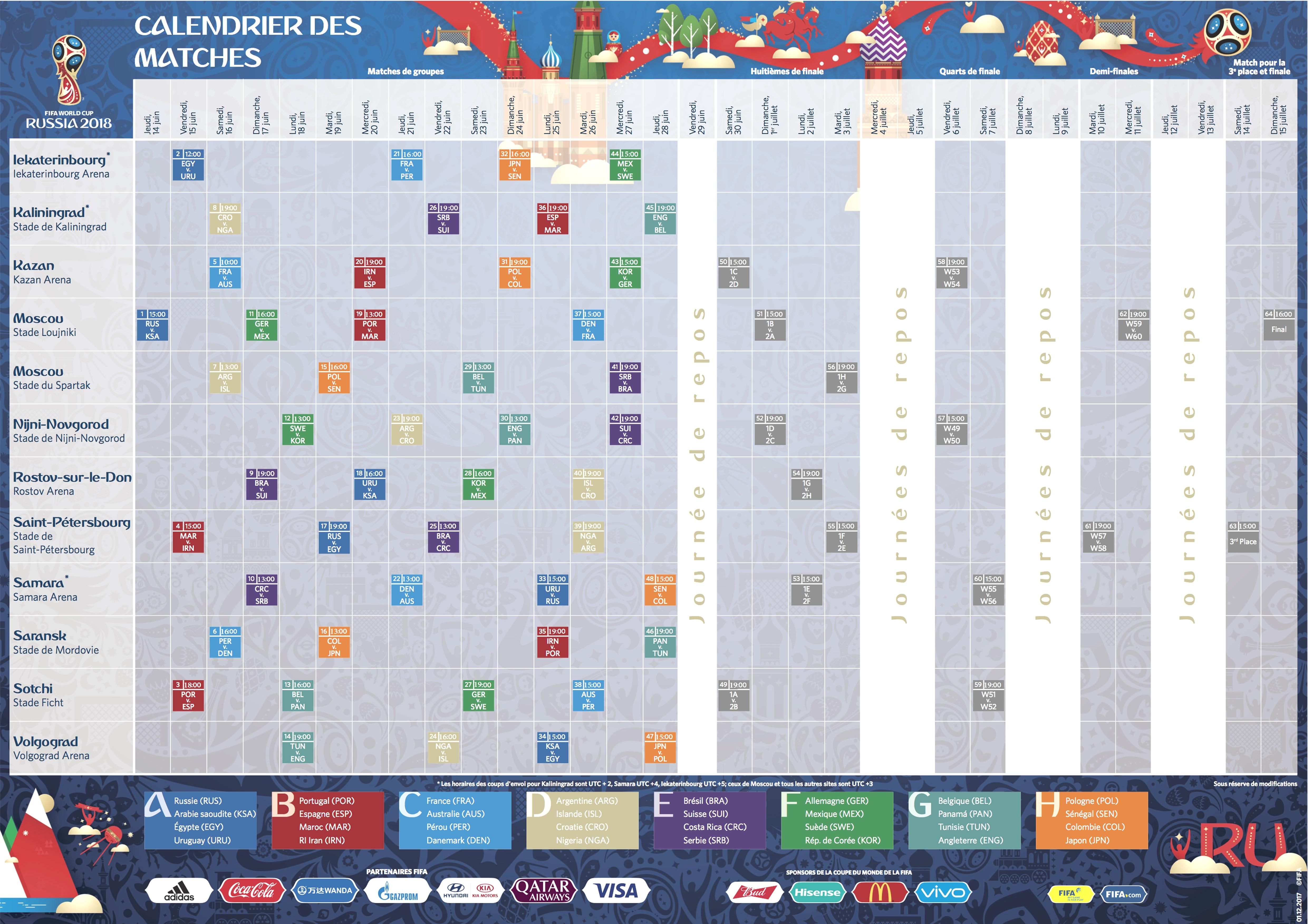 Programme complet des matchs du Mondial 2018 (Heure marocaine)