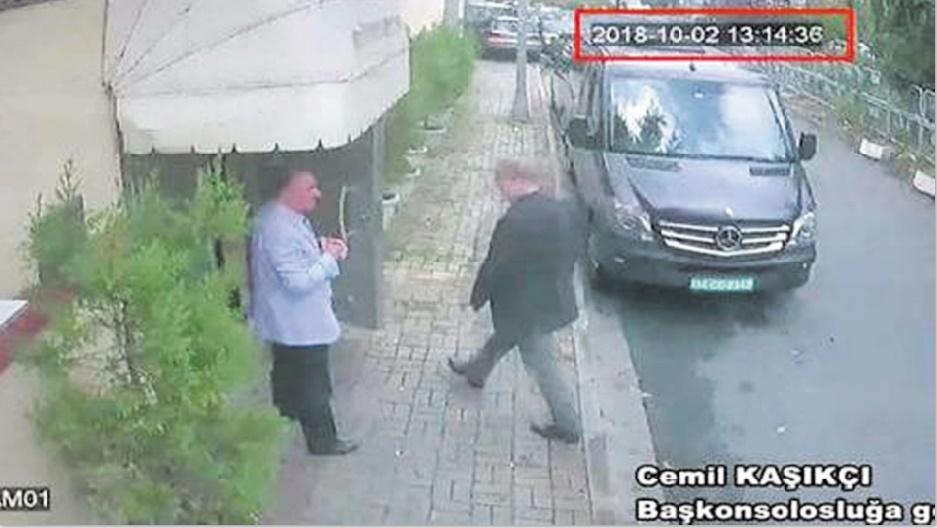 Une télévision diffuse des images de vidéosurveillance sur la disparition de Khoshaggi