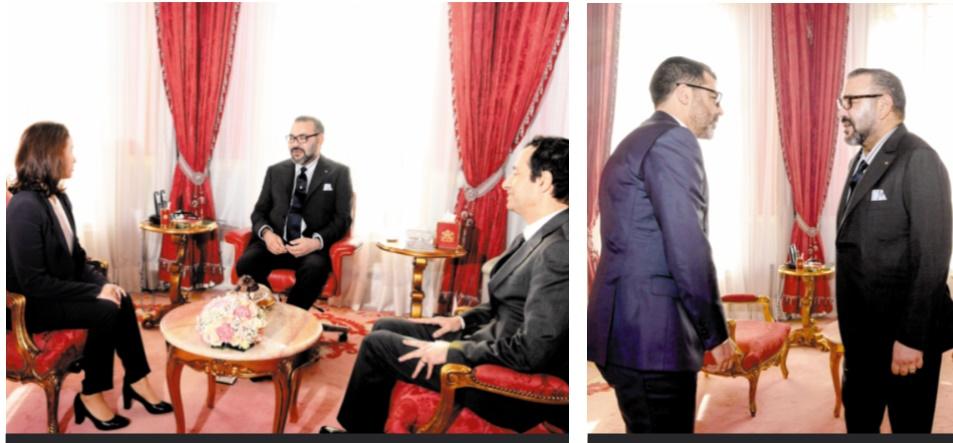 S.M le Roi reçoit Dounia Ben Abbas Tâarji et Obaid Amrane