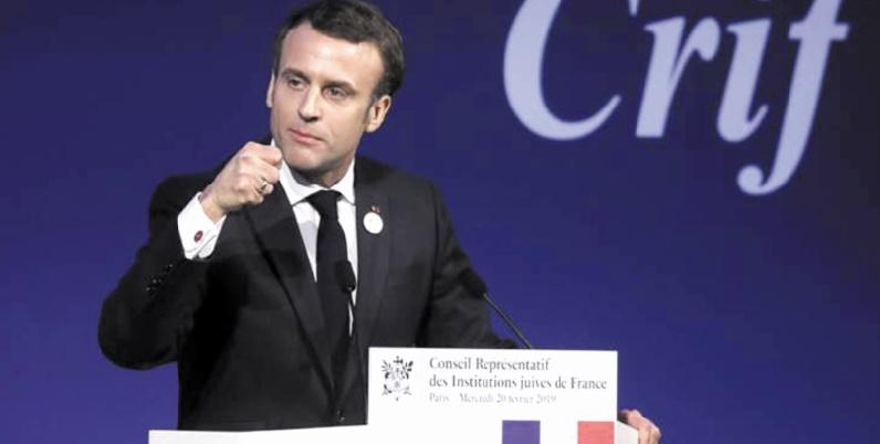 """Macron dénonce une """"résurgence"""" de l'antisémitisme en France et en Europe"""