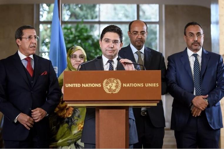 La conférence de presse donnée par la délégation marocaine à l'issue de Genève 1.