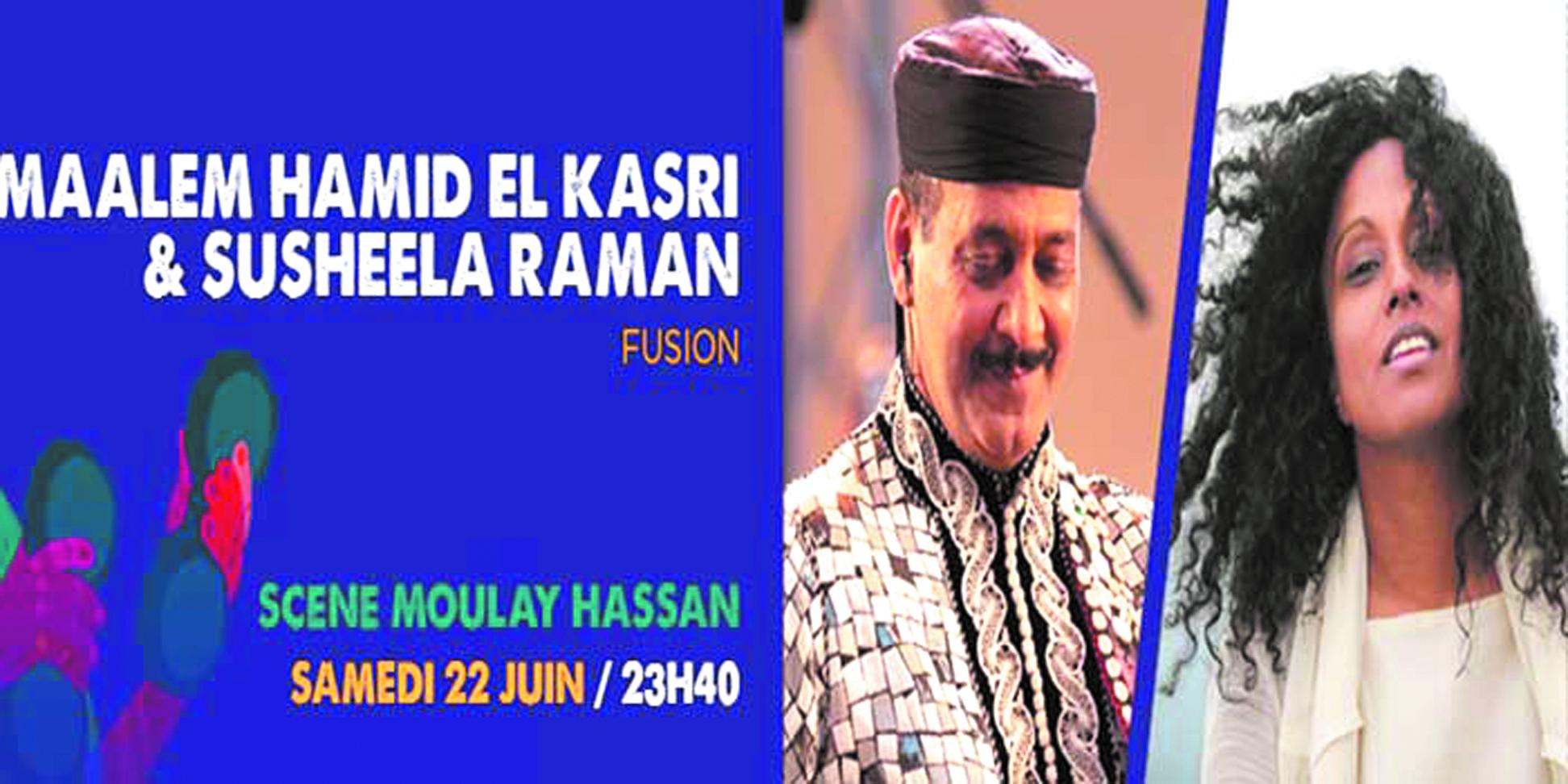 Hamid El Kasri  et Susheela Raman  enflamment la scène Moulay Hassan